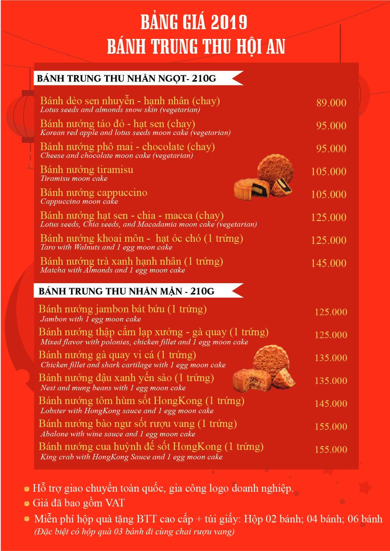 bảng giá bánh trung thu Hội An Mooncake